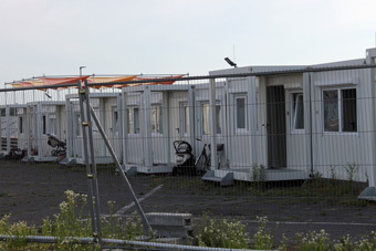 The refugee village on the Tempelhofer Feld