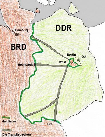 Transitstrecken nach berlin zur Zet der Mauer